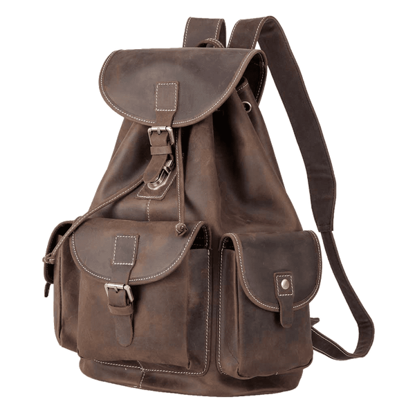 "Full Grain Leather Backpack Vintage Style 10.5"" Laptop Bag"