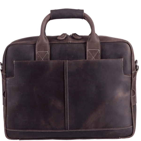 "Men's Leather Briefcase Full Grain Messenger Bag Business Daypack for 16"" Laptop by Platero"