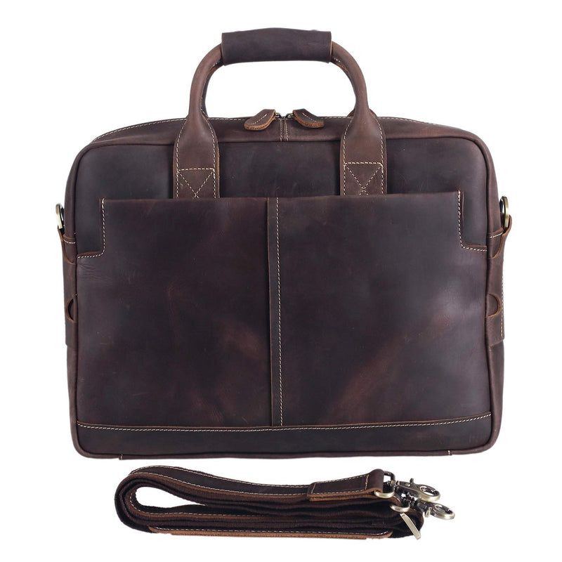 "Vintage Leather Briefcase for Men Business Daypack Full Grain Messenger Bag for 16"" Laptop by Platero"