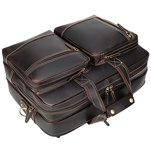"17.3"" Expandable Full Grain Leather Briefcase Laptop Messenger Bag"