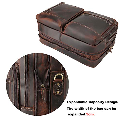 Platero Genuine Leather Briefcase Expandable Vintage Leather Messenger Laptop Bag