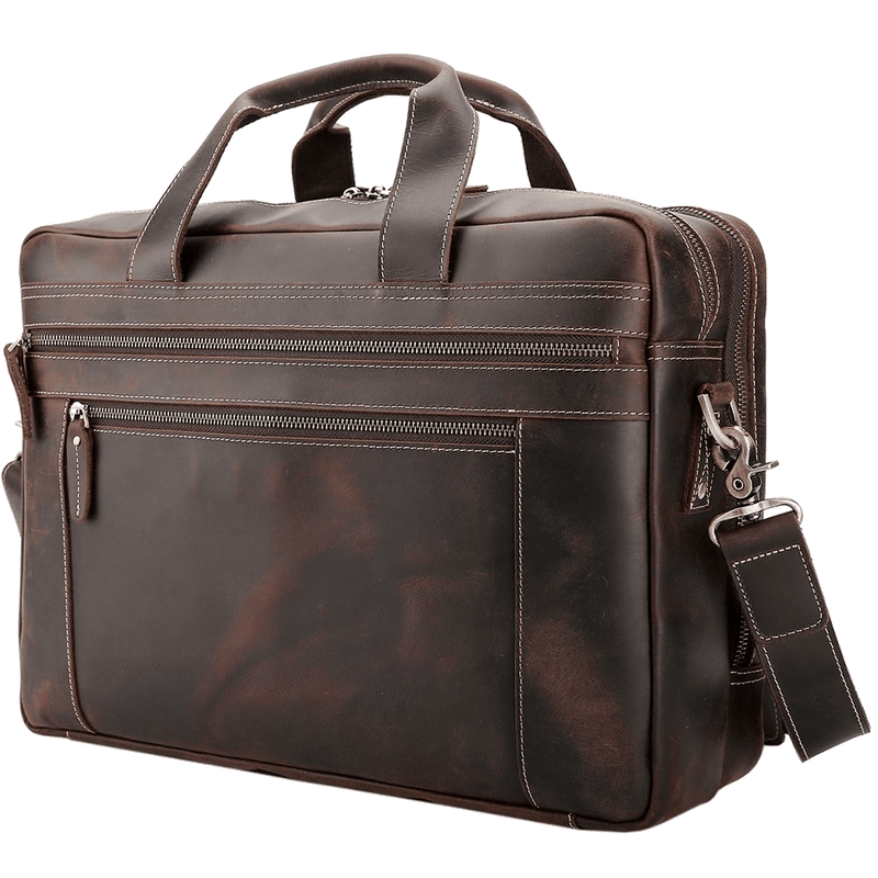 Platero Men's Leather Briefcase Full Grain Leather Messenger Laptop Bag