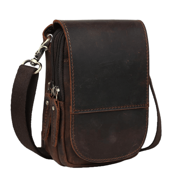 Leather Crossbody Bag Small Shoulder Sling Bag by Platero for Men & Women