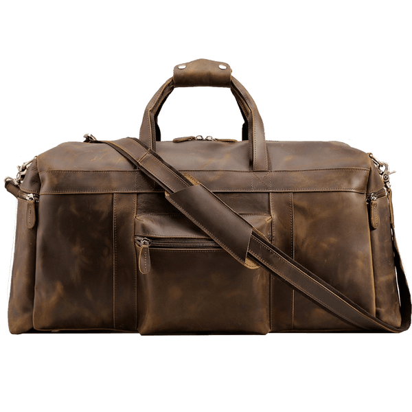 Men's Full Grain Leather Vintage Travel Duffle Luggage Bag