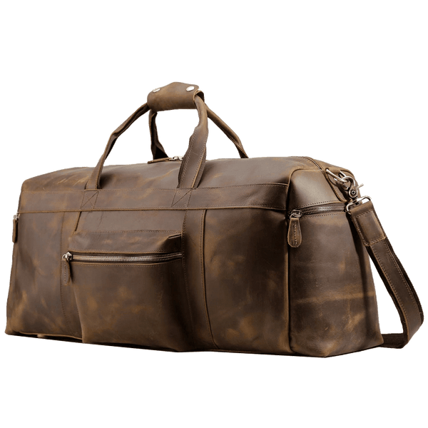 Antique Leather Duffle Bag Large Travel Italian Vintage Style Weekender Backpack Bag for Men by Platero