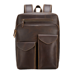"Vintage Leather Shoulder Backpack Briefcase 15.6"" Laptop Brown Classic Cowhide Bag for Men Daypack by Platero"