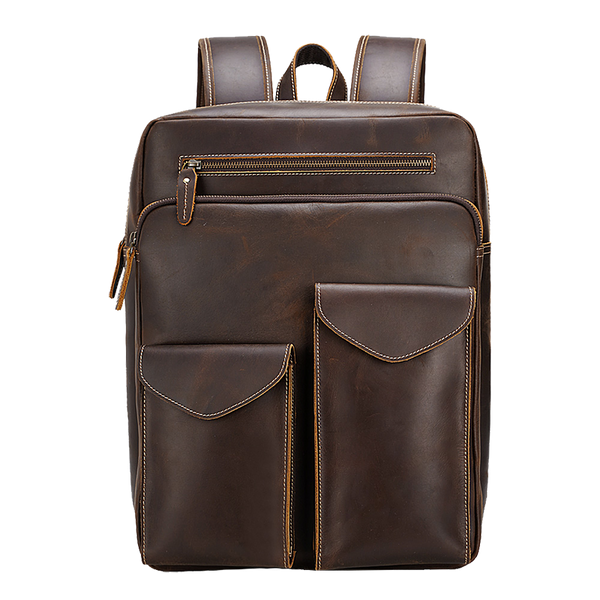 "Vintage Leather Backpack 15.6"" Laptop Bag for Men Daypack Brown"