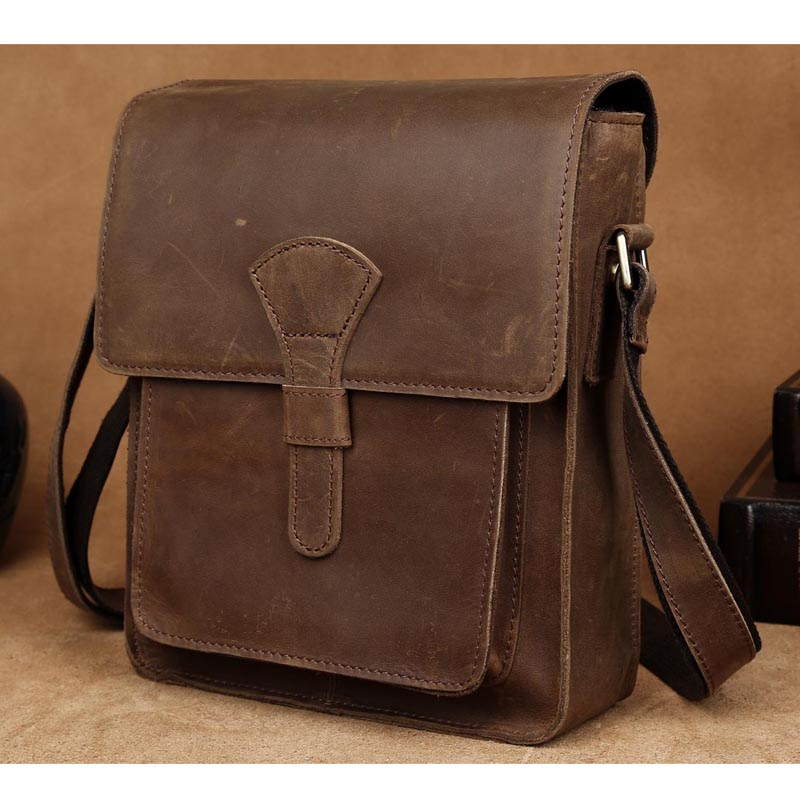 Platero Vintage Leather Messenger Bag for Men, Small Briefcase Laptop Shoulder Bags Daypack for Business Men
