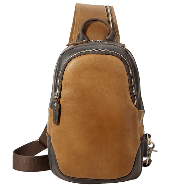 Men Women Vintage Genuine Leather Backpack Shoulder Cool Sling Chest Bag Daypack