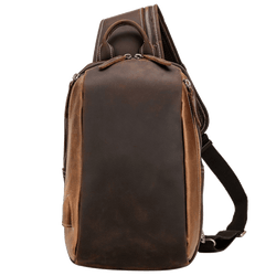 Platero Leather Sling Bag Chest Crossbody Genuine Cowhide Daypack Sport Shoulder Bags for Men