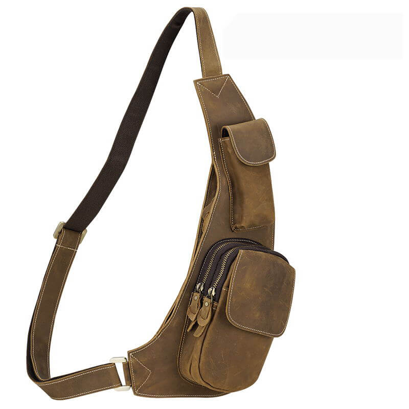 Vintage Chest Sling Bag Men's Leather Crossbody Bag Fashionable Sport Casual Sling Purses Bag by Platero