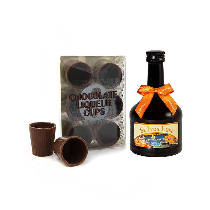 10cl St Ives Lust - Salted Caramel Cream Liqueur with Chocolate Cups