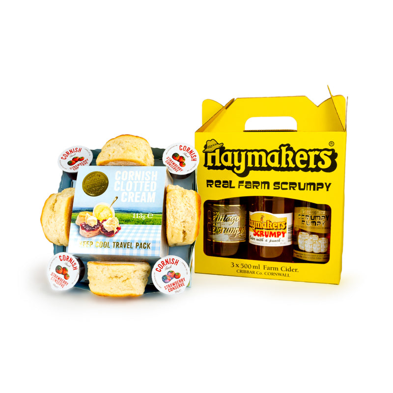Cornish Cream Tea with 3 x 500ml Haymakers Cider Gift Box