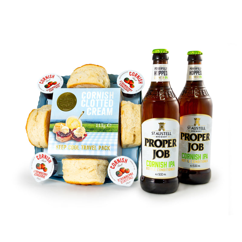 Cornish Cream Tea with 2 x 500ml Cornish Proper Job Ale
