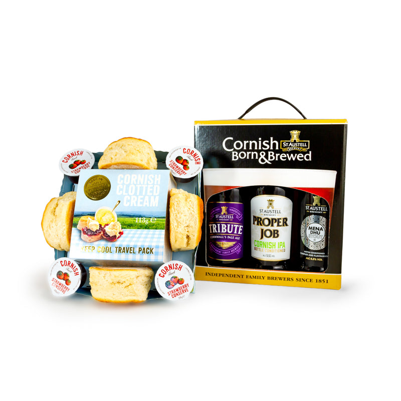 Cornish Cream Tea with 3 x 500ml Cornish Ale Gift Box