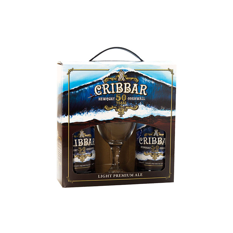 2 x 500ml Cribbar Ales with Branded Glass Gift Box
