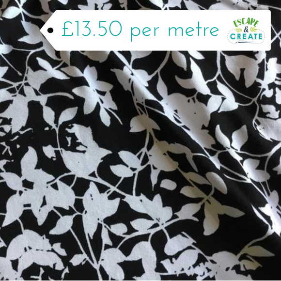 White Leaf on Black Viscose Jersey