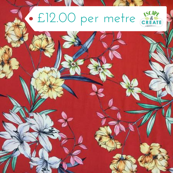 Large Flower Print on Red 100% Viscose at escape and create