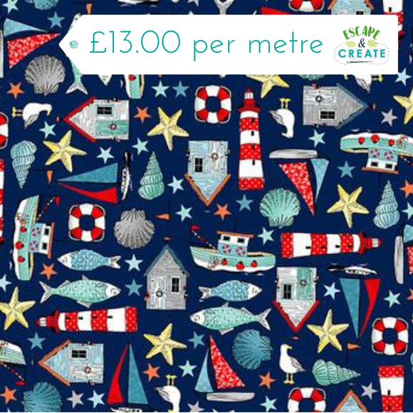 Sea Breeze quilting fabrics collection by Makower at escape and create cambridge fabric shop