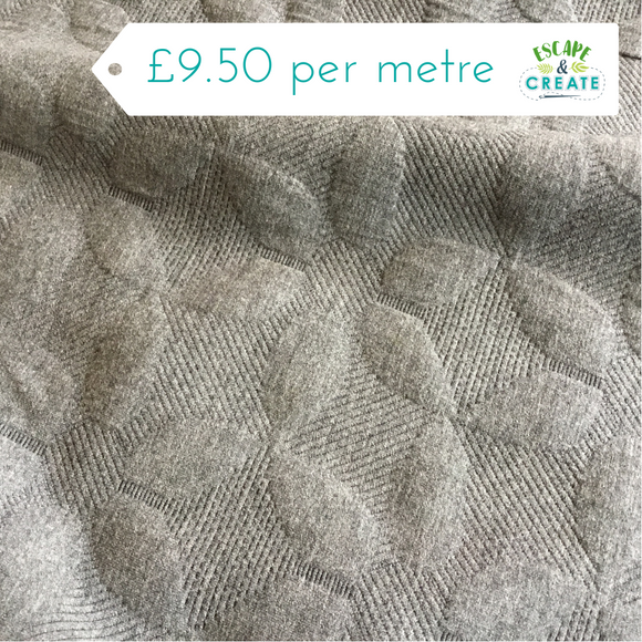 grey cable knit textured ponte fabric at escape and create