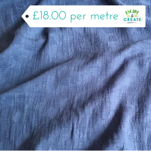 denim blue cotton jacquard fabric at escape and create