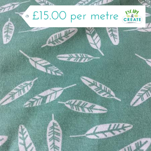 Leaves on Dusky Green Cotton Jersey at escape and create