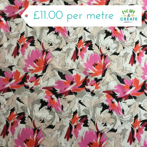pink and orange tropical print fabric at escape and create