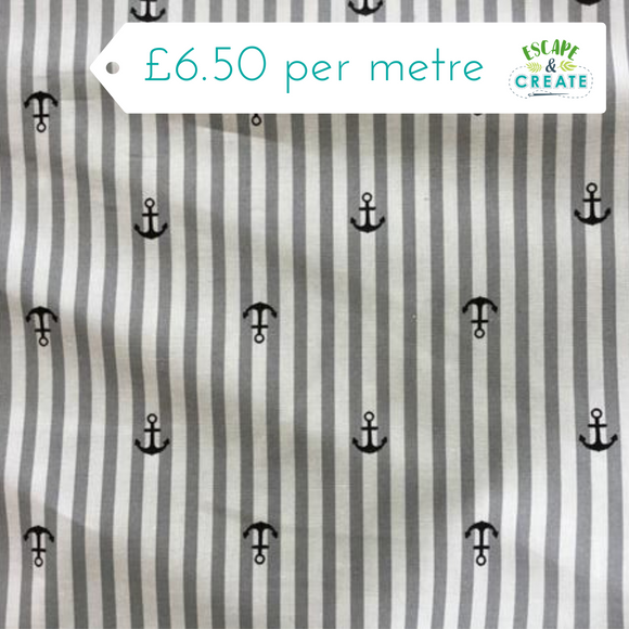 Anchors on Stripes 100% Cotton Poplin at escape and create