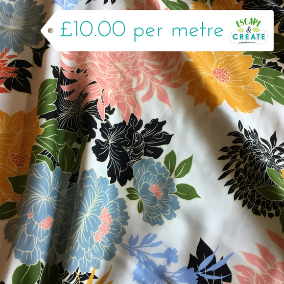 Bright summer floral cotton sateen fabric at escape and create