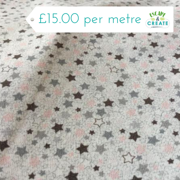 Dusky Pink and Grey Stars Cotton Jersey at escape and create