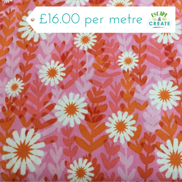 Freshly Picked Daisies in Pink 100% Unbleached Cotton at escape and create
