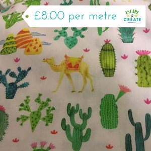 Cactus on White 100% Cotton Poplin at escape and create