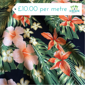 navy Hawaiian tropical fabric at escape and create
