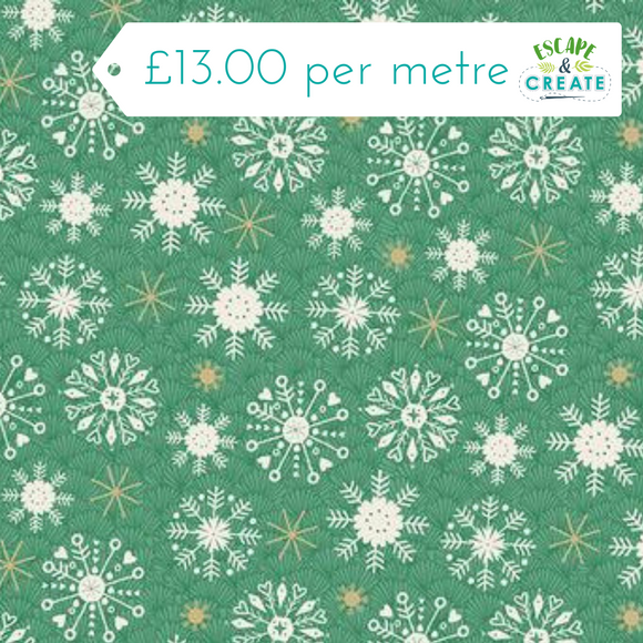 Now £10.40 p/m Merry Christmas Snowflake Green by Makower