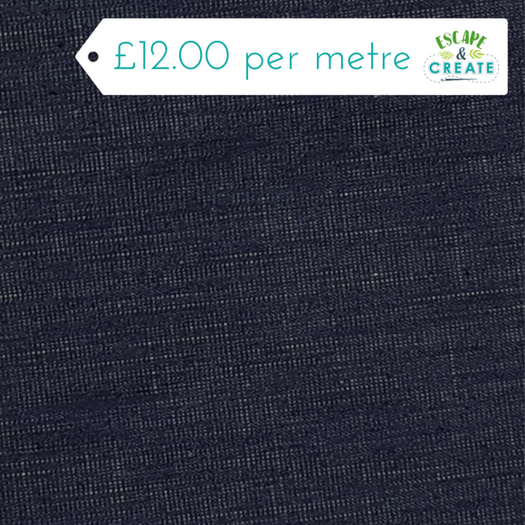REMNANT Denim Stretch Navy Barkweave (145cm wide X 90cm)