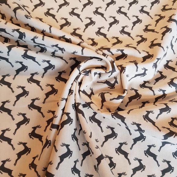 Cotton Poplin Reindeer Scatter Grey on Cream