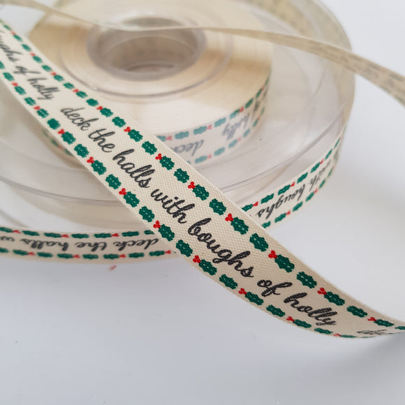 Ribbon Tape 15mm Deck the Halls