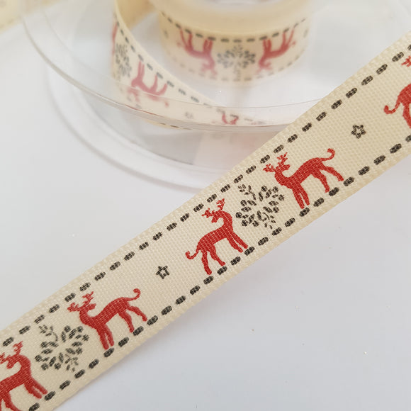 Ribbon 15mm Red Deer on Cream
