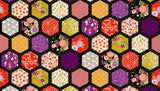 Floral Hexagons on Black by Makower