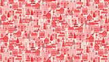 Scandi Houses on Red by Makower