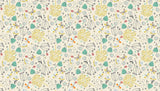 A Walk in The Park Flowers Cream 100% Cotton by Makower