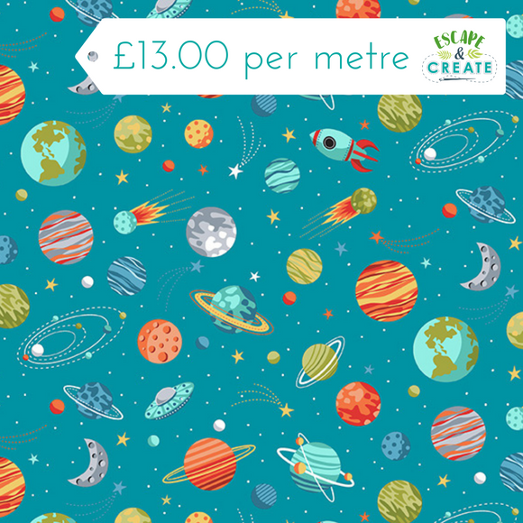 Space Planets Blue 100% Cotton by Makower