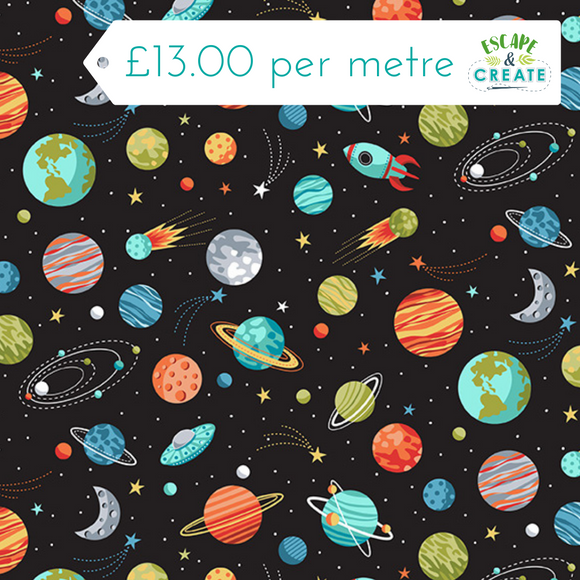 Space Planets Black 100% Cotton by Makower