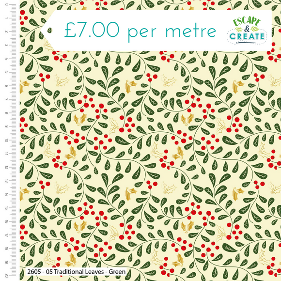 Traditional Christmas by Craft Cotton Co Leaves Green