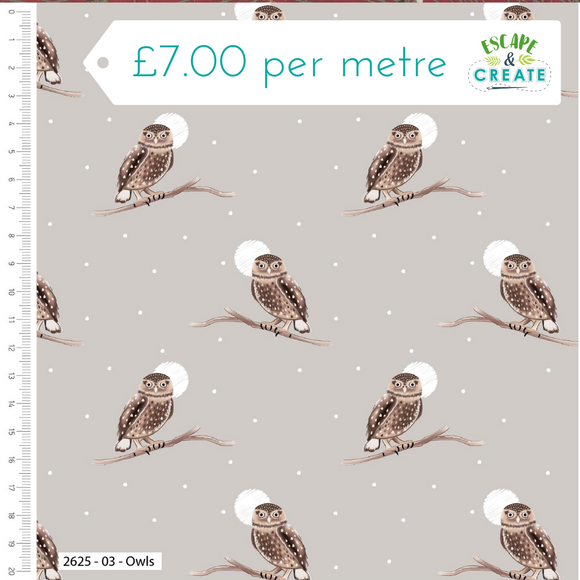 Snowy Woodland by Craft Cotton Co Owls