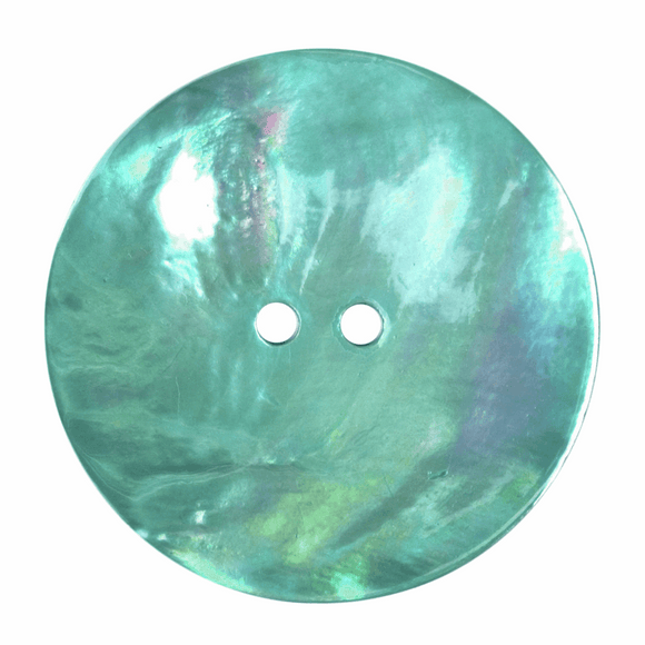 Button 2 Hole 34mm Round Pearlescent Green