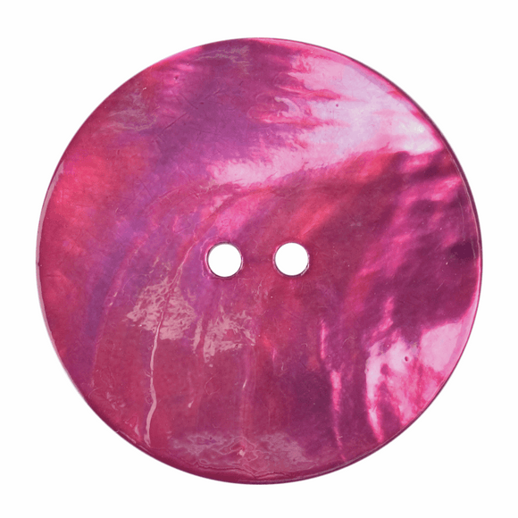 Button 2 Hole 34mm Round Pearlescent Pink