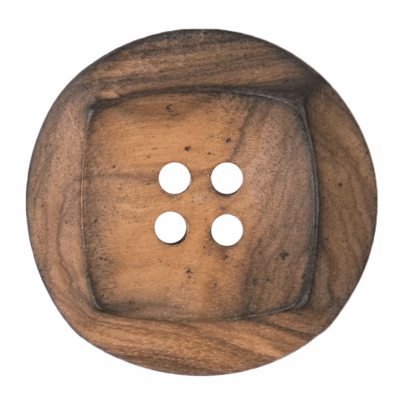 Button Wood 4 Hole 28mm Round Natural