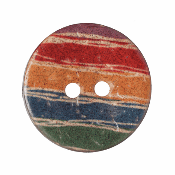 Button Coconut 2 Hole 21mm Round Rainbow