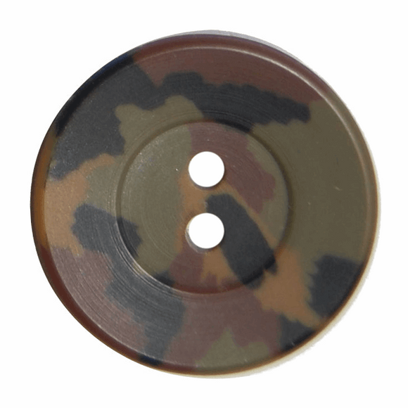 Button 2 Hole 20mm Round Camouflage Green